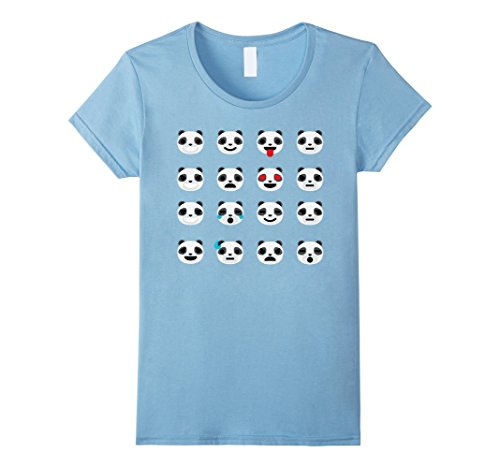 [Women's Panda Emoji Shirt Many Different Expressions T-Shirt Tee XL Baby Blue] (Cute Female Nerd Costumes)
