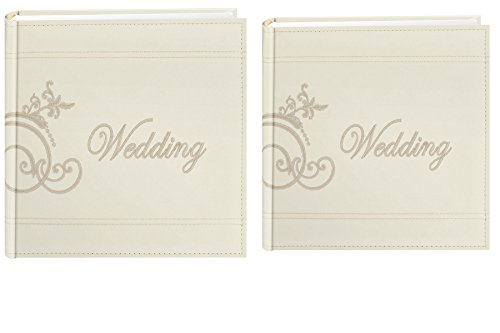 Pioneer Embroidered Scroll and Wedding Sewn Leatherette Cover Photo Album, Ivory (2)