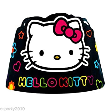 Amazon Com Hello Kitty Neon Tween Paper Crowns 8 Birthday Party