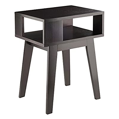 """Winsome Wood Thompson End Table, Espresso - Overall size is 20""""W x 14.9""""D x 25""""H. Table top dimensions are 20""""W x 14.9""""D Side openings of 10.2""""W x 5.5""""HFront/back openings 15.25""""W x 5.5""""H Made of solid wood in a sleek Espresso finish - living-room-furniture, living-room, end-tables - 41Rb6uZ8%2BiL. SS400  -"""