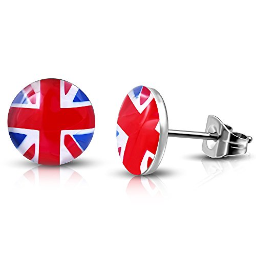 FLAG EARRINGS IN STAINLESS STEEL (UNITED KINGDOM, FRANCE, ARGENTINA, SPAIN, ITALY, USA, GERMANY, BRAZIL) (UNITED KINGDOM)
