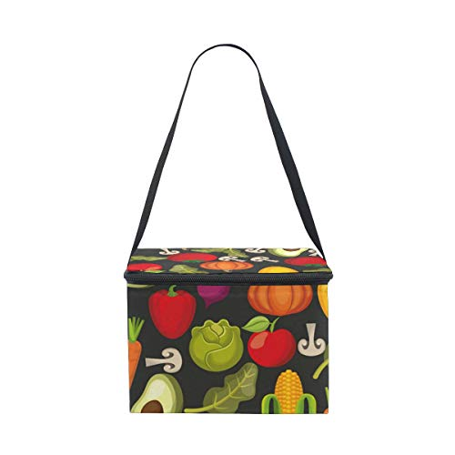 Thermal Lunch Bag Lunch Box Carry Case Handbags Tote With Zipper For Outdoor Travel Picnic,Insulated And Reusable Vegetable Halloween