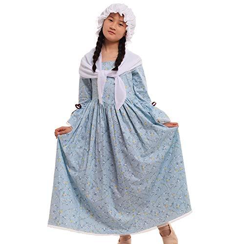 GRACEART Colonial Girls Dress Prairie Pioneer Costume 100% Cotton (5 Colors Option) (16, Light Blue)