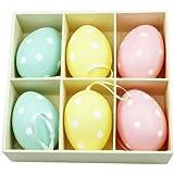 Lot de 6 œufs de Pâques décorés de pois