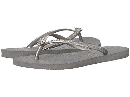 Havaianas Women's Slim Crystal Poem Sandal, Steel Grey/Bright Silver,35/36 BR (6 M US)