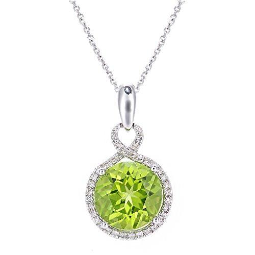 Revoni Bague en or blanc 9carats-Diamant et Péridot-COLLIER FEMME-Pendentif Rond