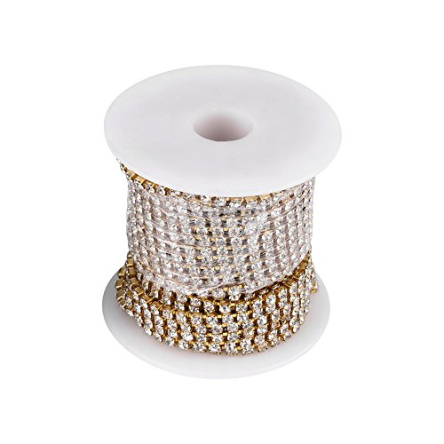 Rhinestone Cup Chain Crystal Sewing Trim Craft Accessory Decoration Clear Glass Gold(Gold)