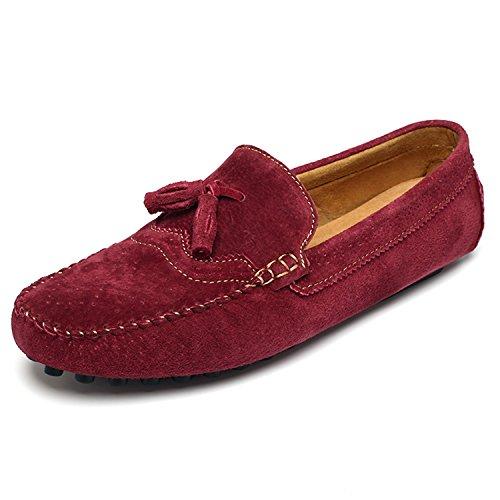 Icegrey Hommes Mocassins Cuir Suedé avec Tessel Loafers Casual Bateau Chaussures de Ville Flats Vin Rouge 44