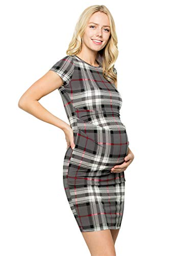 My Bump Women's Maternity Bodycon Causual Short Sleeve Mama Dress(Made in USA) (X-Large, Charcoal SYAD) -