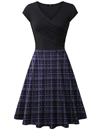 (Lotusmile Elegant Dresses, Womens Casual Dress A Line Cap Sleeve V Neck Blue Black, Medium)
