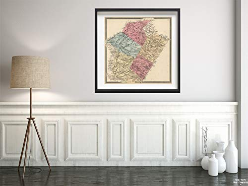 (1862 Map|County Atlas District, Pike, Washington, Earl, and Colebrookdale Townships, Berks County, Pennsylvania|Vintage Fine Art Reproduction|Size: 24x24|Ready to)