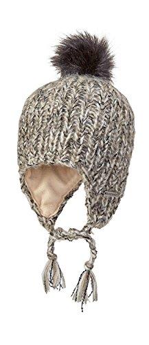 Screamer Women's Abby Knit Cap Faux Fur Pom Hat, Laitte Linen, One Size by Screamer