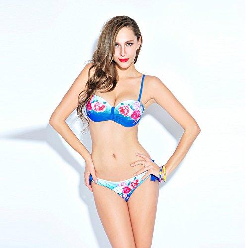 XLHGG Conjunto de bikini triángulo de mujer Trajes de baño Floral Swimsuit Underwire Bra Poliéster Blue