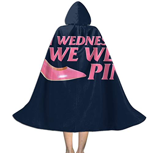 Mean Girls On Wednesday We Wear Pink Movie Quote Unisex Kids Hooded Cloak Cape Halloween Xmas Party Decoration Role Cosplay Costumes