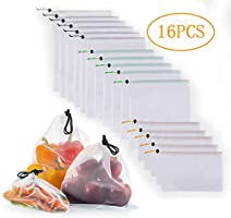 16PCS Reusable Mesh Produce Bags, moveland Premium Eco Friendly Washable Shopping Storage Bag for Fruit, Vegetable...