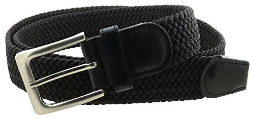 Mens Braided Elastic Stretch Belt Leather Tipped End and Silver Metal Buckle (Black-M) (End Belt Buckle)