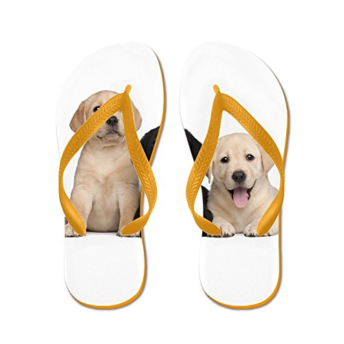 CafePress Labrador Puppies - Flip Flops, Funny Thong Sandals, Beach Sandals Orange