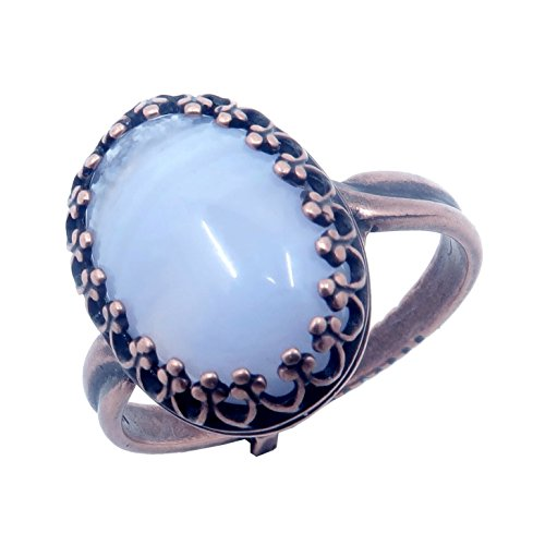 Agate Blue Lace Ring 5-8 Boutique Genuine Oval Gemstone Banded Crystal Healing Adjustable Cooling Energy B01 (Antiqued ()