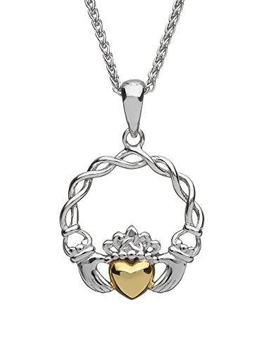 Biddy Murphy Claddagh Necklace Sterling Silver & 10K Gold Made in Ireland