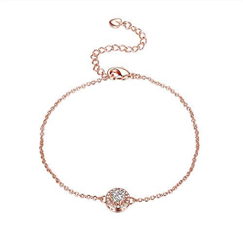 ose Gold Plated Bracelet Rhinestones Buckle Round Pendant for Women (Rhinestone Buckle Bracelet)
