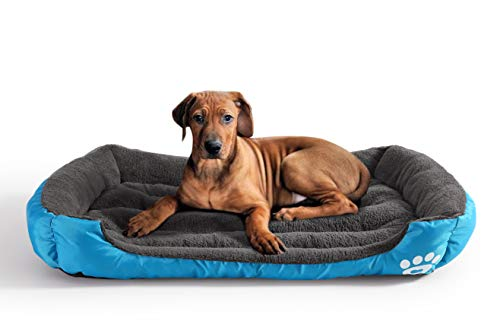 Lovescabin Large Dog Bed, Rectangle Pet Bed with Dog Paw Printing, Blue, Ultimate Lounge 43x29x6.3 - for Medium & Large Dogs & Cats, Water-Resistant Bottom, Machine Washable - Durable Printing