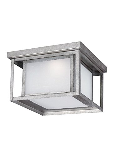 Sea Gull Lighting 7903991S-57 Hunnington LED Outdoor Flush Mount Ceiling Light with Etched Seeded Glass Panels, Weathered Pewter - Etched Assortment