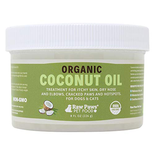 Raw Paws Organic Coconut Oil for Dogs & Cats, 8-oz - Treatment for Itchy Skin, Dry Nose, Paws, Elbows, Hot Spot Lotion for Dogs, Natural Hairball Remedy for Dogs & Cats, Flea Tick Prevention for Dogs