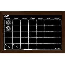 """17"""" x11"""" Espresso Frame Chalk Board Calendar with Chalk Pencil"""