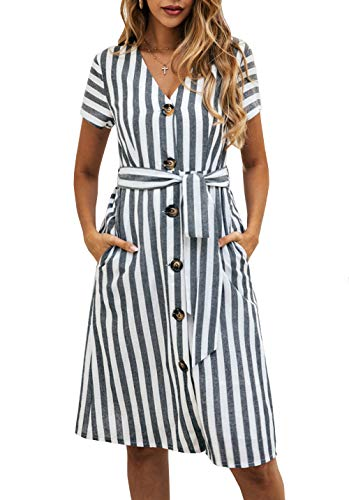 PRETTYGARDEN Women's Summer Striped Short Sleeve V Neck Button Down Belted Swing Midi Dress with Pockets (Black, Medium)