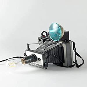 Handmade Upcycled Vintage Instant Film Camera Lamp with Dimmer and LED Edison Bulb