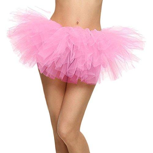 TRADERPLUS Women's Adult 5 Layered Tulle Pink Tutu Skirt Short Ballet Dress (Pink)