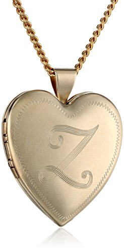 18k Gold-Plated Initial''Z'' Heart 26mm (1'') Locket Necklace, 24'' by Amazon Collection