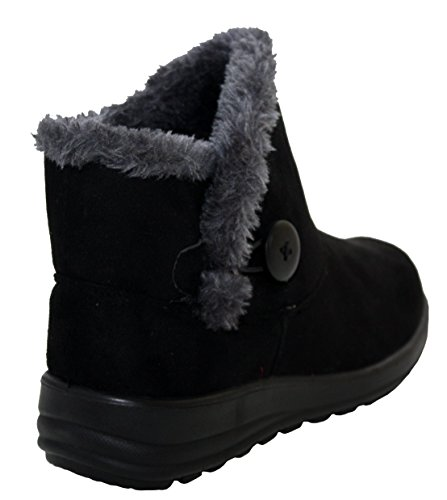 8 Lined Sizes Walk Girls Ankle Lightweight Womens Boots UK Ladies Casual Cushion Warm Black Winter Fur 3 Comfort XpxRqaaw