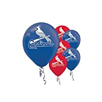 Amscan St. Louis Cardinals Major League Baseball Printed Latex Party Balloons 12 Blue/Red