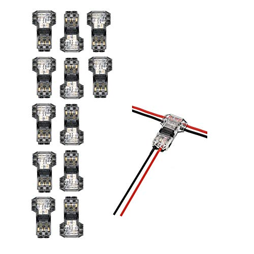 (GooChan quick-wire connector, low-voltage electronic wire connector, no stripping, stripping adapter 20/22 AWG cable for cross-branch in wire (12-piece 2-pin 2-way T-type))