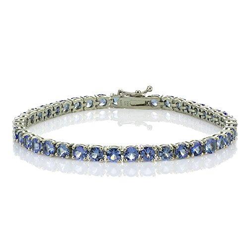 Sterling Silver Tanzanite 4mm Round Tennis Bracelet by Ice Gems