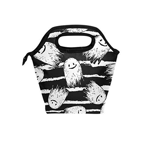 SHANGLONG Ghost Lunch Tote Bag for Women Kids Stripe Insulated Cooler Quote Portable Lunch Box Handbag