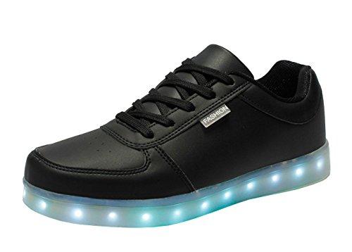 2f26676fd376ff DELEY Unisex-Erwachsene Herren Damen USB Aufladen LED Leuchtend Schuhe  Bunte Blinkende Sneaker Schwarz
