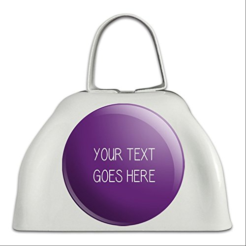 Graphics and More Personalized Custom Purple Background Any Occasion White Cowbell Cow Bell