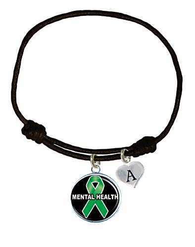 Holly Road Mental Health Awareness Black Leather Unisex Bracelet Jewelry Choose Initial ()