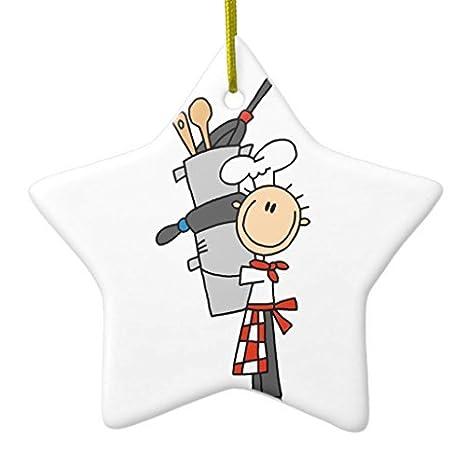 Navidad decoraciones para árboles diseño de chef con ollas y sartenes Star cerámica Crafts para las niñas de Navidad Decor: Amazon.es: Hogar