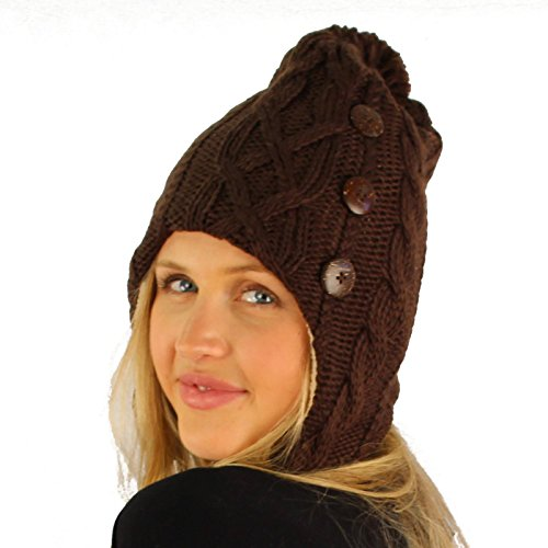 (Winter Soft Lined 3 Button Trooper Trapper Pilot Knit Pompom Hat Ski Cap Brown)