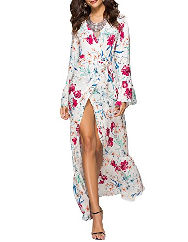 YOGINGO Women's V Neck Bell Sleeve Floral Printed Party Loose Long Maxi Dress with Belt