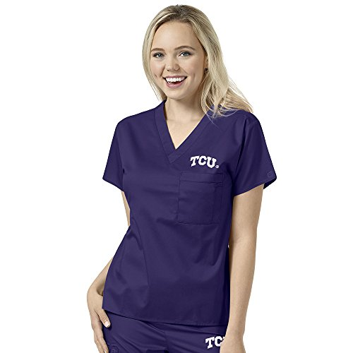 Texas Collegiate Scrub (WonderWork Collegiate Unisex V-Neck Grape Solid Scrub Top X-Large Texas Christian University)
