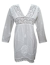 Mogul Womens Bohemian Cotton Tunic Hand Embroidered Front Pleated Design White Kurti