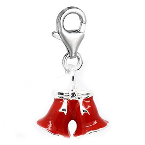 Sexy paillettes Femme à clipser Rouge Charm cloches pour européenne Clip sur le charme Bijoux W/homard fermoir