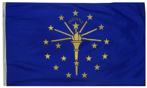 Indiana State Flag 3x5 ft. Nylon SolarGuard Nyl-Glo 100% Made in USA to Official State Design Specifications by Annin Flagmakers.  Model - At Liberty Steps Center