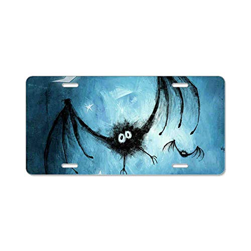 AhuiA-Bat Blue Gifts Custom Personalized Aluminum Metal Novelty License Plate Cover Front Auto Car Accessories Vanity Tag- 6x12 Inches