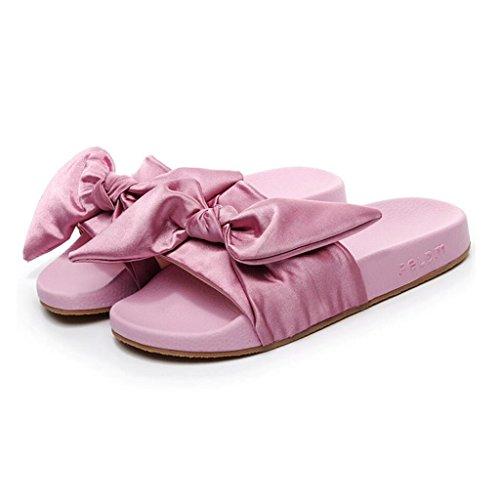 CN39 Green Couleur en De UK6 Bottom Bow Xy® Shoes Summer EU39 Pantoufles Plein Mode Air Beach Flat Femelle Pink Taille Sandales I6xqZH
