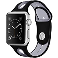 Insaneness Double Color Blowhole Small Silicone Bracelet Watch Band Wrist Strap for Apple iWatch Series 1/2/ 3 38mm